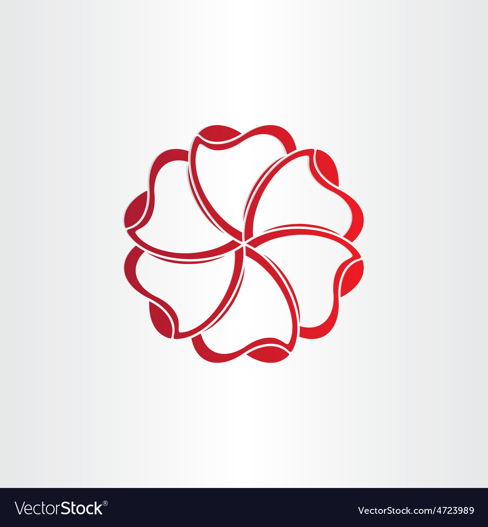 Red hearts in circle icon vector | Price: 1 Credit (USD $1)