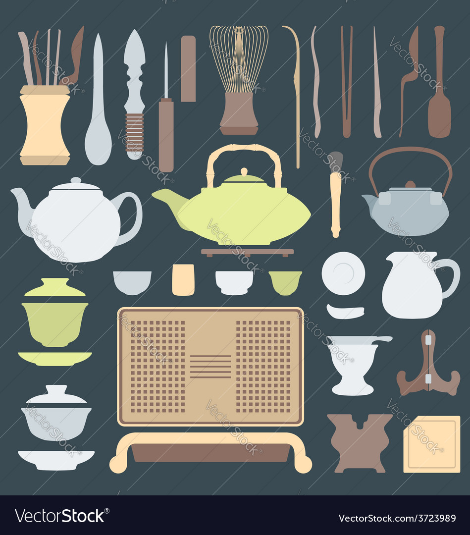 Solid colors tea ceremony equipment set vector | Price: 1 Credit (USD $1)