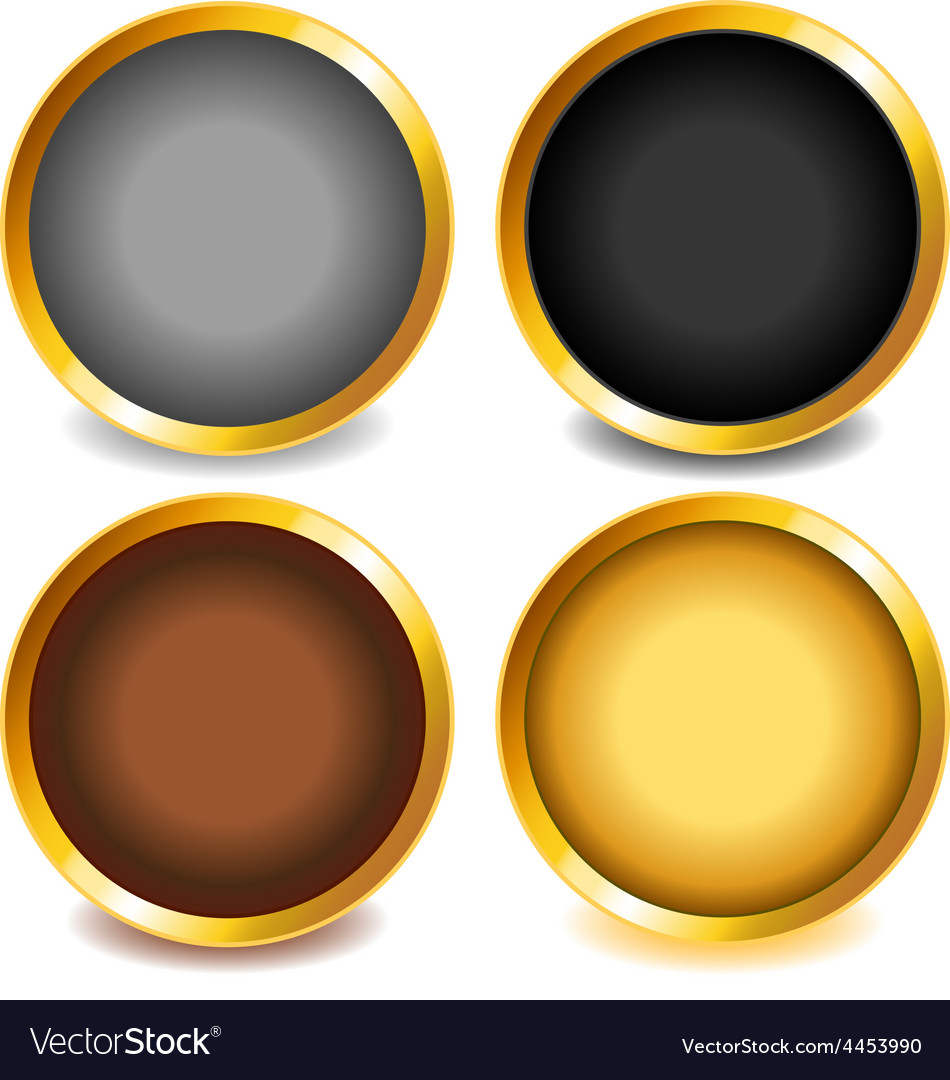 Colorful buttons with gold bevel-set3 vector | Price: 1 Credit (USD $1)