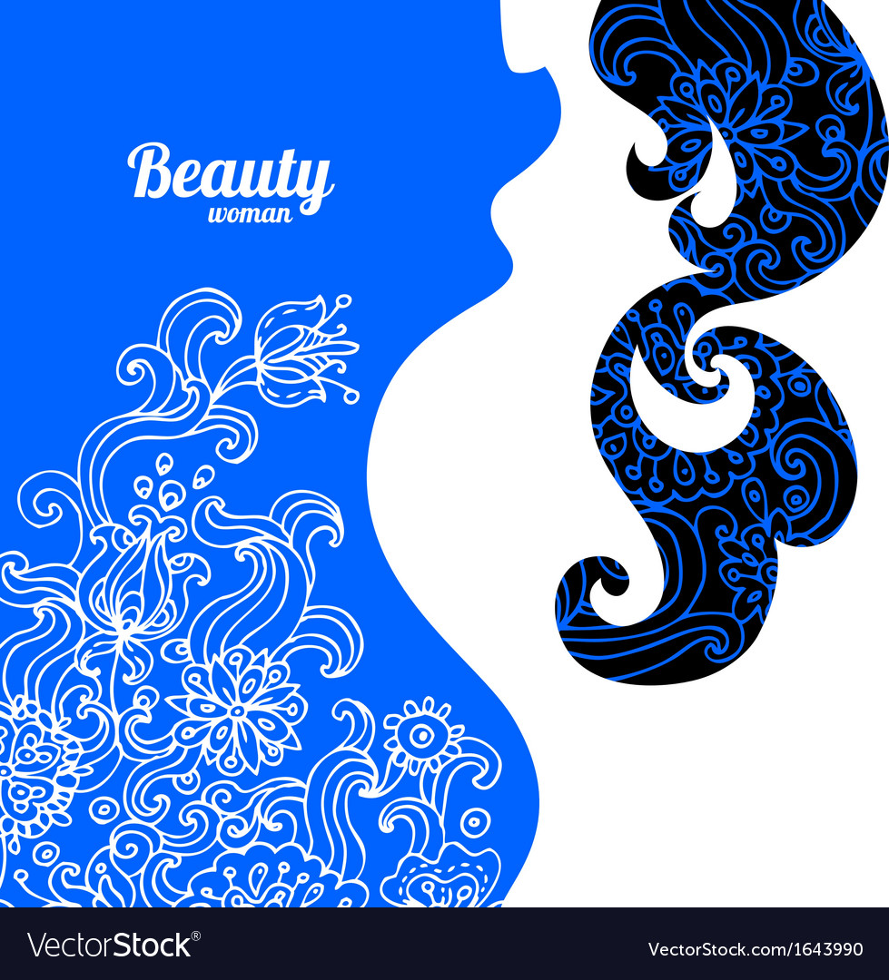 Floral background with pregnant woman silhouette vector | Price: 1 Credit (USD $1)