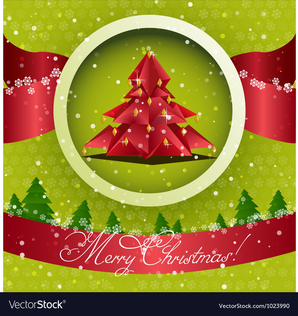 Origami christmas tree card vector | Price: 1 Credit (USD $1)