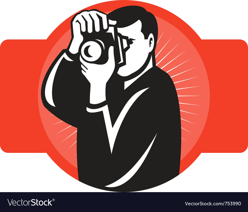Photographer aiming slr camera vector | Price: 1 Credit (USD $1)