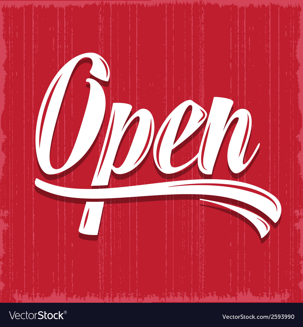 Retro open sign vector | Price: 1 Credit (USD $1)