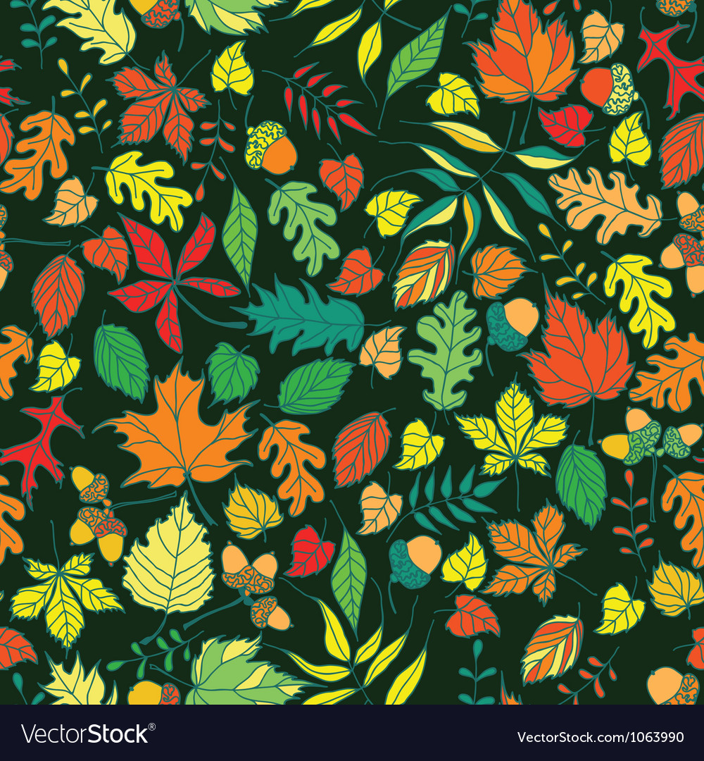 Seamless autumn leaves background vector | Price: 1 Credit (USD $1)