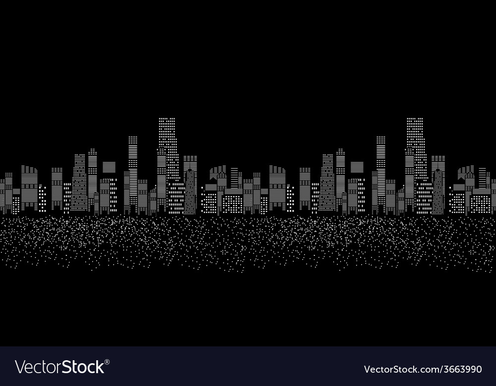 Seamless pattern of cities silhouette vector | Price: 1 Credit (USD $1)