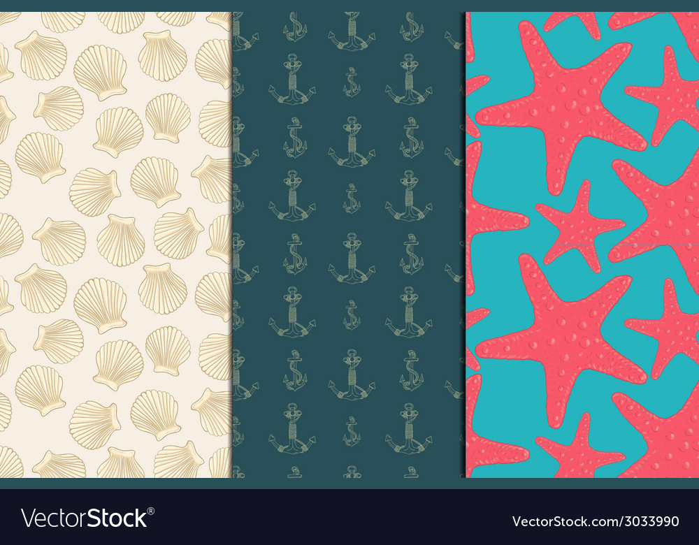 Seamless pattern sea set vector | Price: 1 Credit (USD $1)