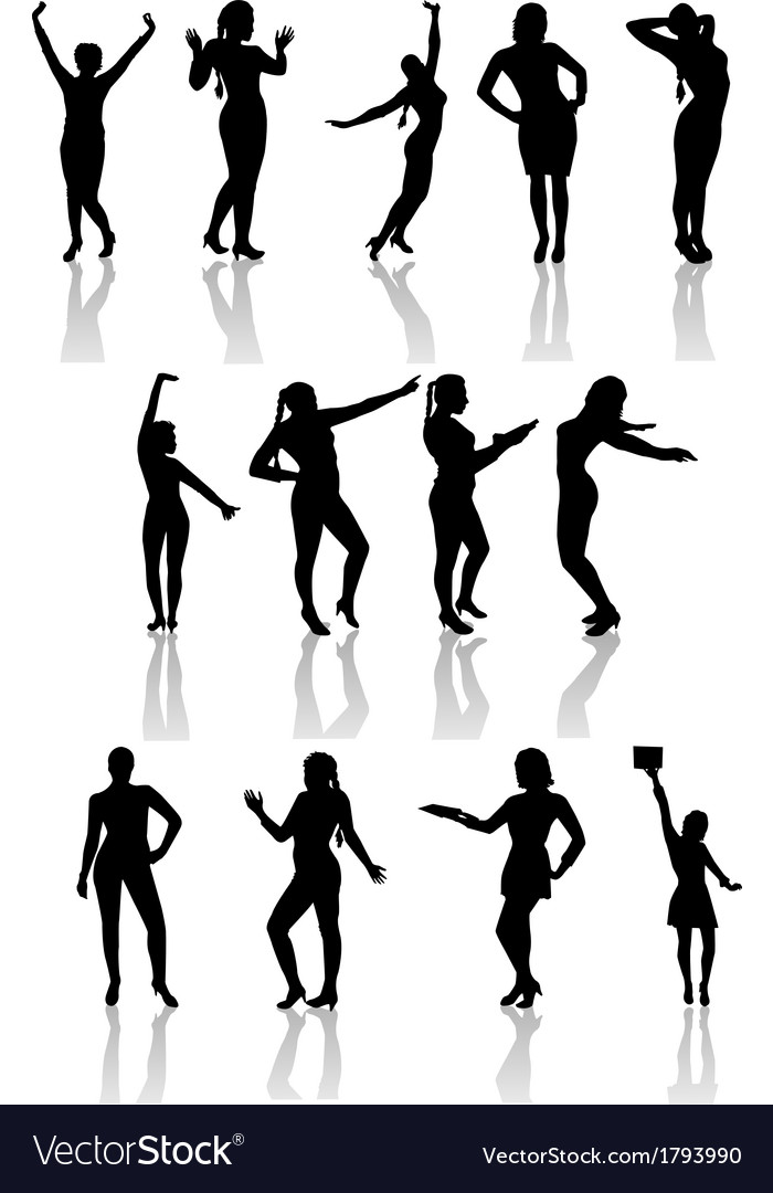 Silhouettes of girls with shadow vector | Price: 1 Credit (USD $1)
