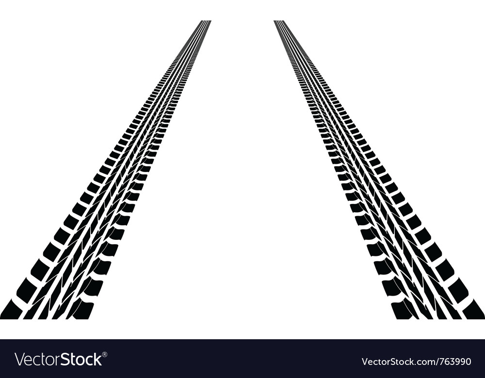 Tire tracks leading far away vector | Price: 1 Credit (USD $1)