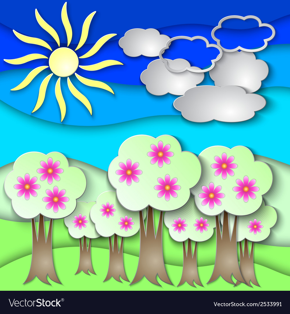 Abstract paper collage with spring trees vector | Price: 1 Credit (USD $1)