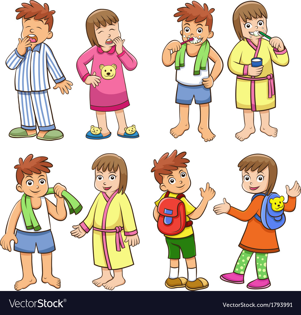 Boy and girl daily morning life vector   Price: 1 Credit (USD $1)