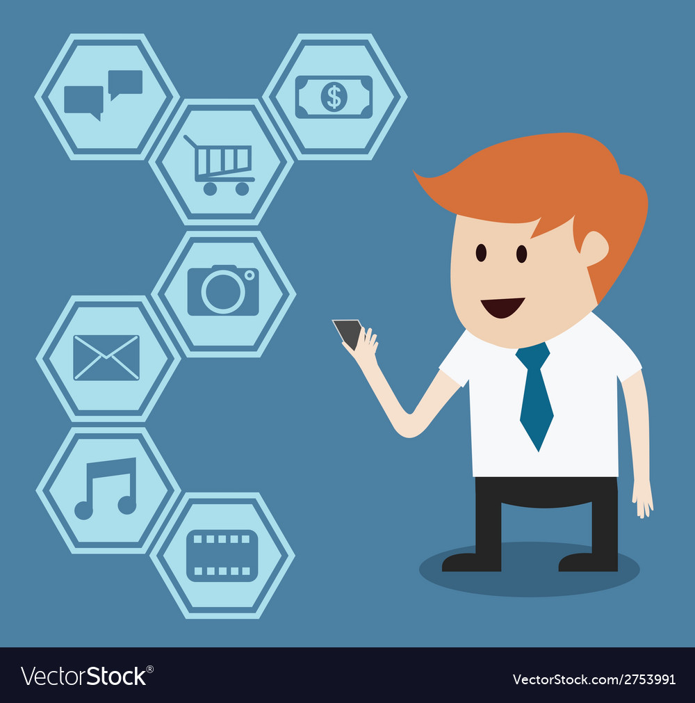 Businessman with mobile phone and application vector | Price: 1 Credit (USD $1)