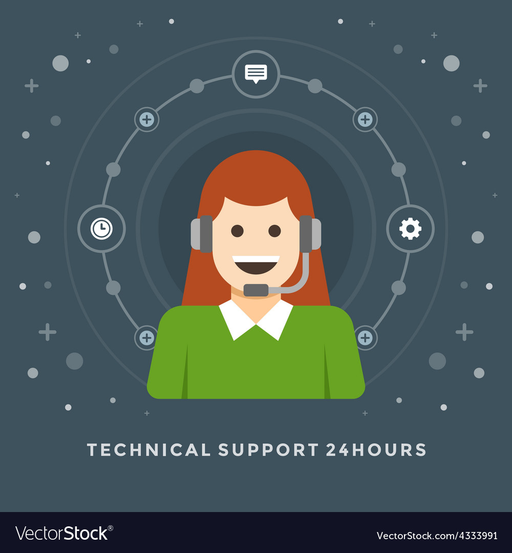 Flat design business concept technical suppo vector