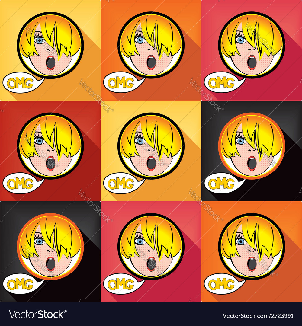 Flat pop art exclaim girl vector | Price: 1 Credit (USD $1)