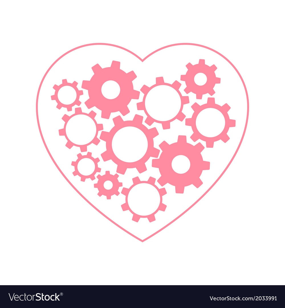 Heart with gears inside vector | Price: 1 Credit (USD $1)
