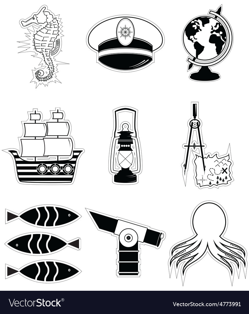 Nautical elements 3 sticker style vector   Price: 1 Credit (USD $1)