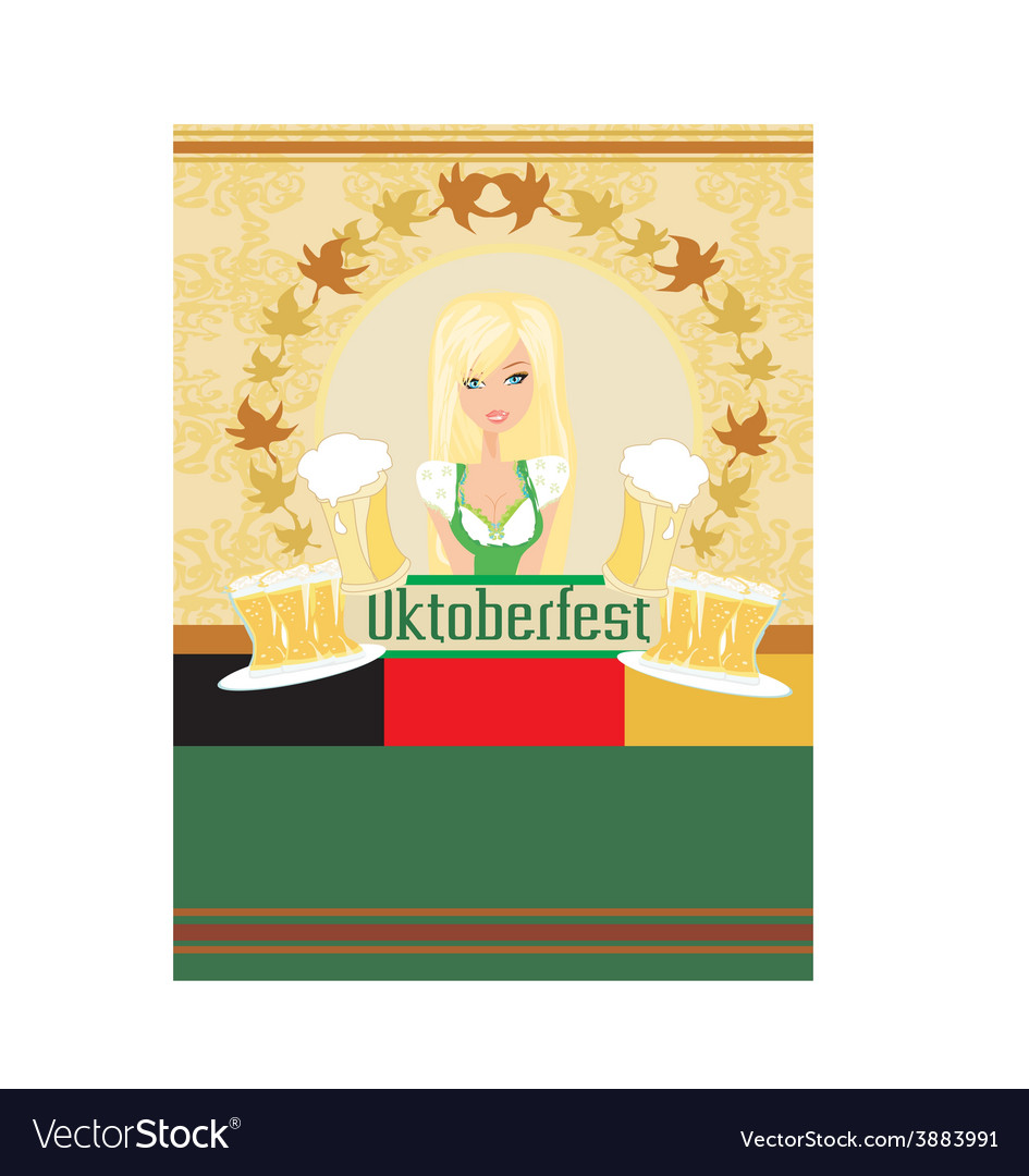 Pretty waitress with beer oktoberfest card vector | Price: 1 Credit (USD $1)