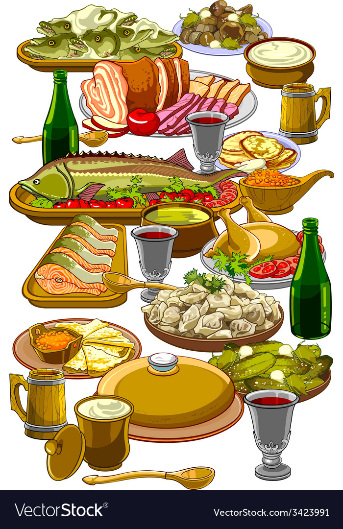 Royal table made to different dishes vector | Price: 3 Credit (USD $3)
