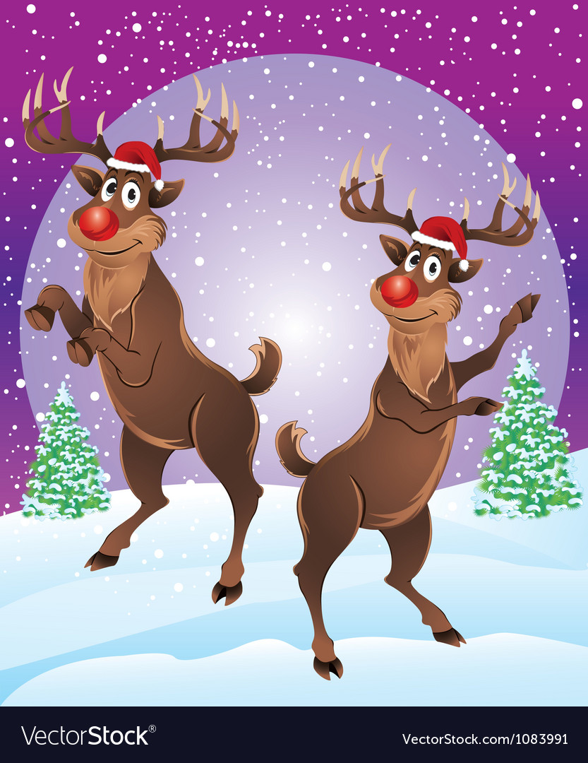 Rudolph the reindeer enjoying snowfall vector | Price: 3 Credit (USD $3)