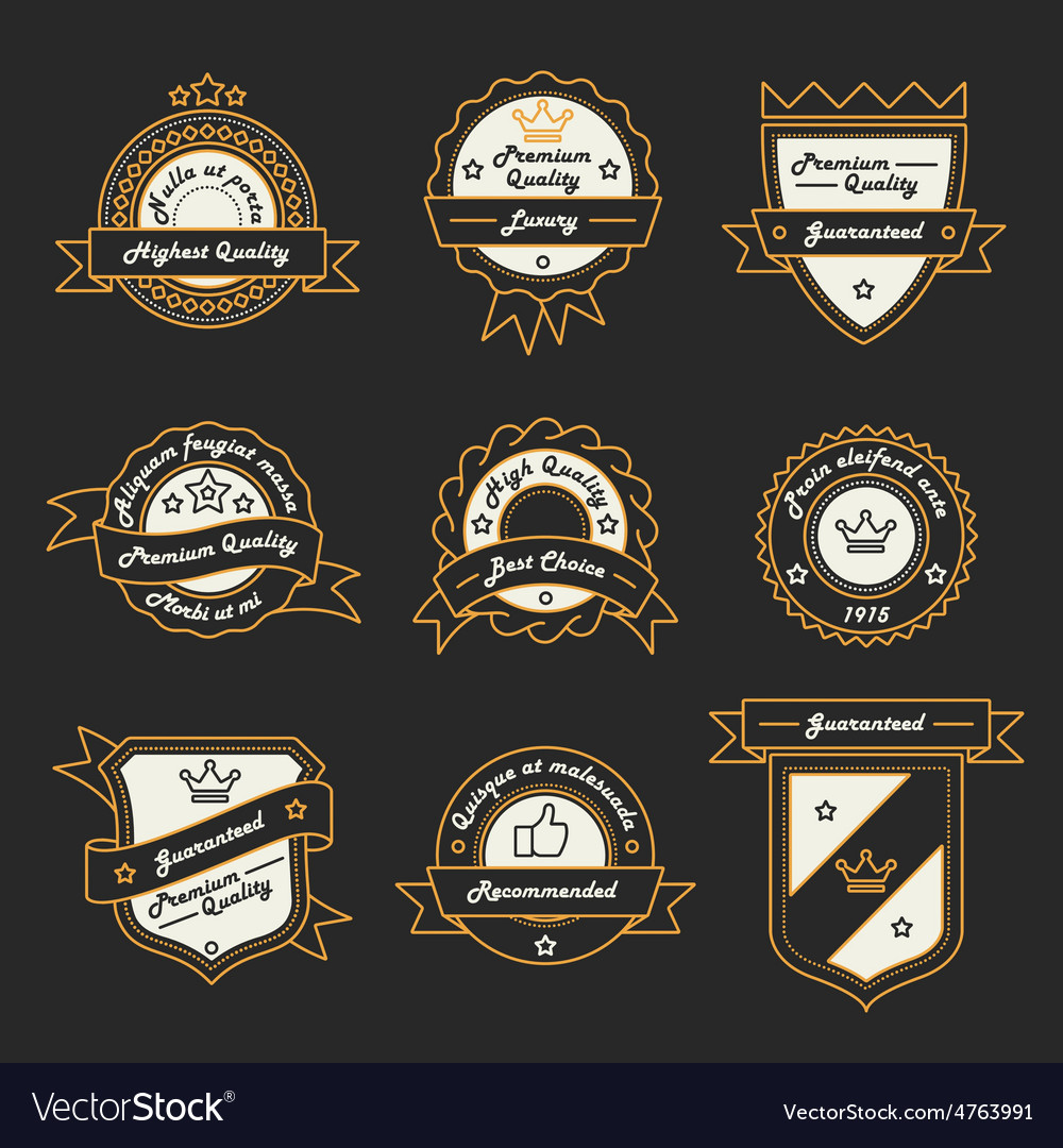 Set of monochrome label logo and badge vector | Price: 3 Credit (USD $3)