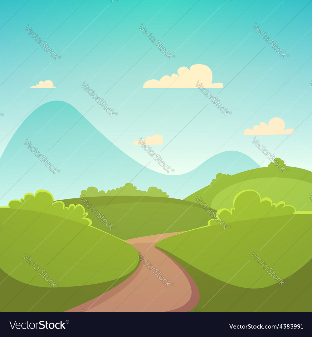 Summer cartoon landscape vector | Price: 3 Credit (USD $3)