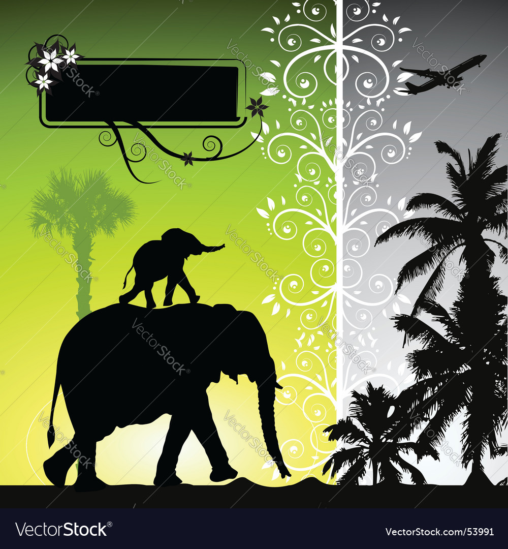 Summer holiday elephants vector | Price: 1 Credit (USD $1)