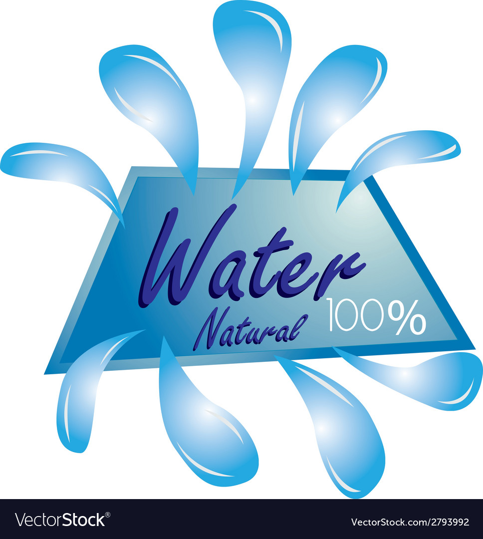 A blue icon with some drops of water and text vector | Price: 1 Credit (USD $1)