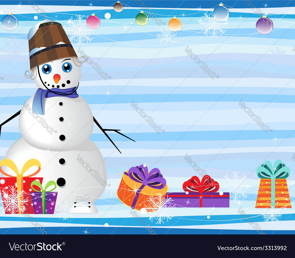 Blue eyed snowman and gift boxes vector | Price: 3 Credit (USD $3)