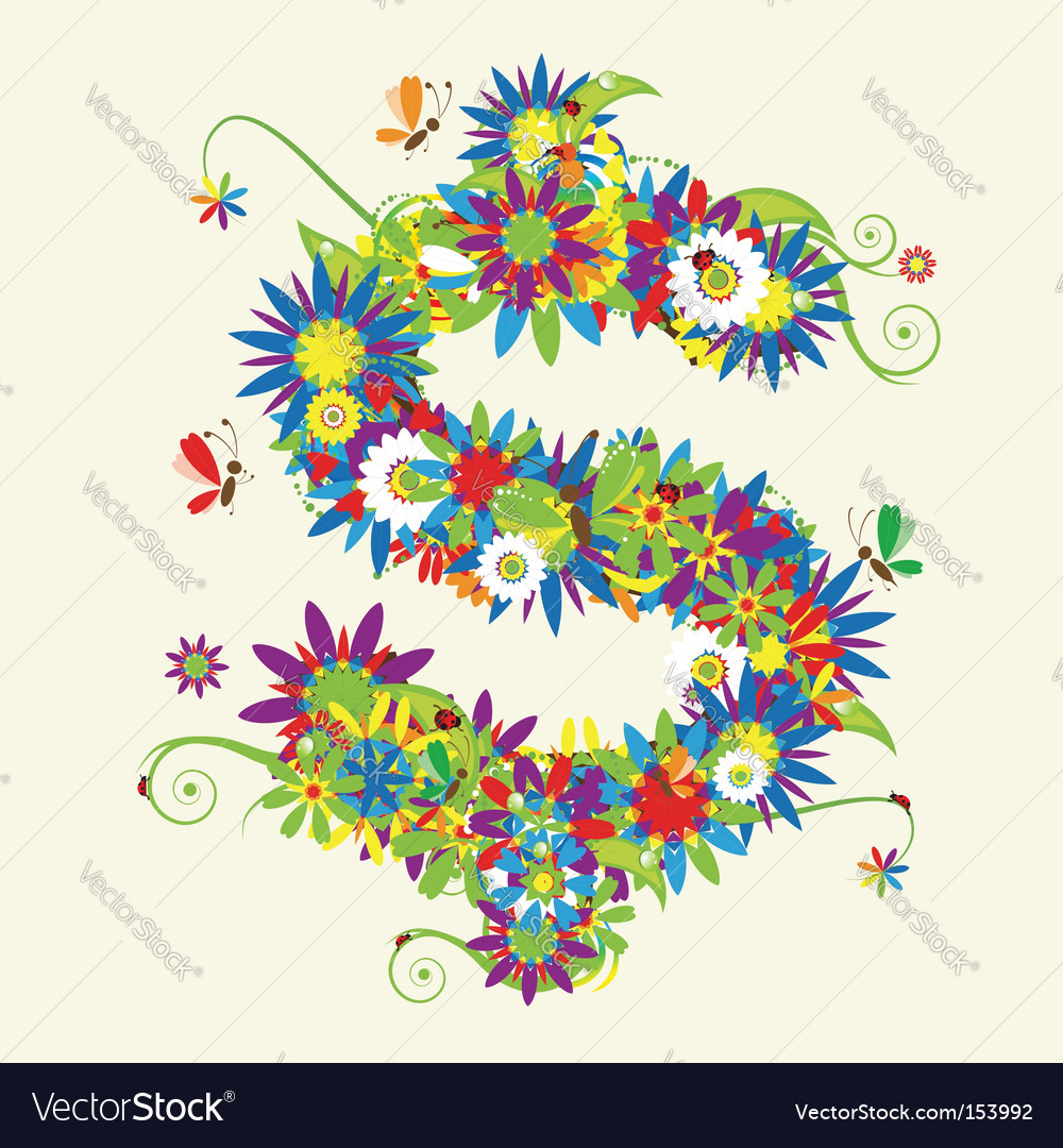 Dollar sign floral design vector | Price: 1 Credit (USD $1)