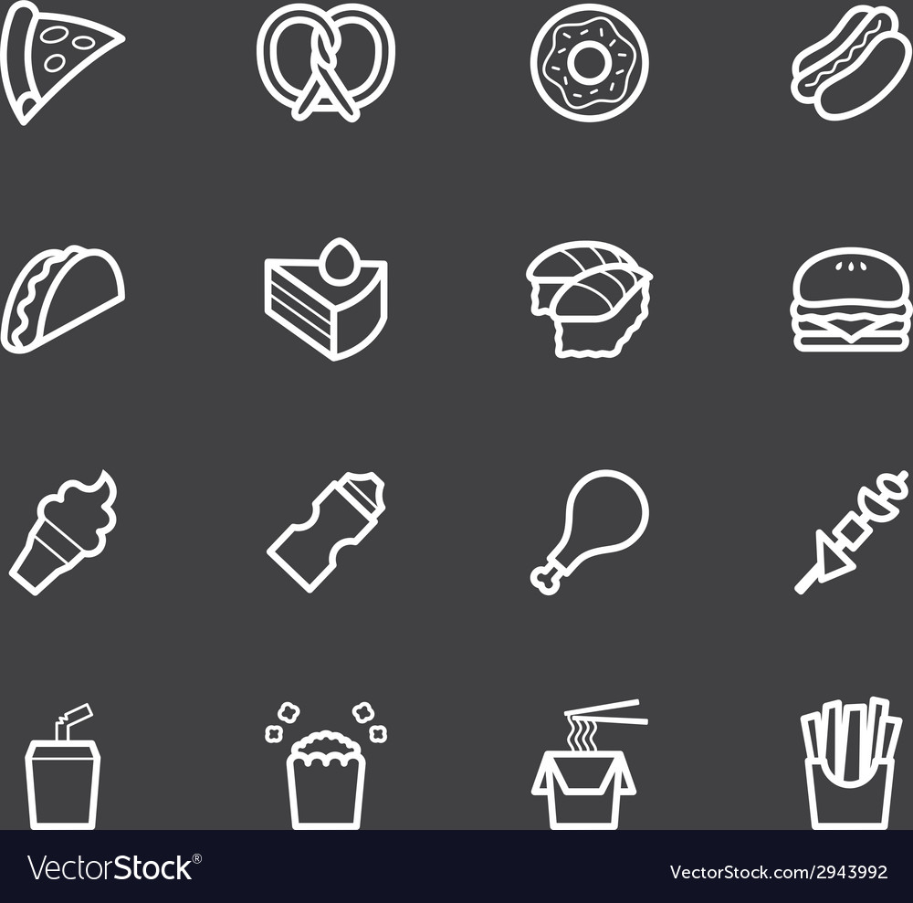 Fast food white icon set on black background vector | Price: 1 Credit (USD $1)