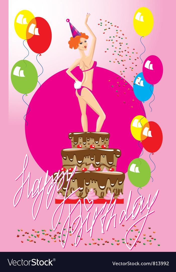 Girl in cake vector