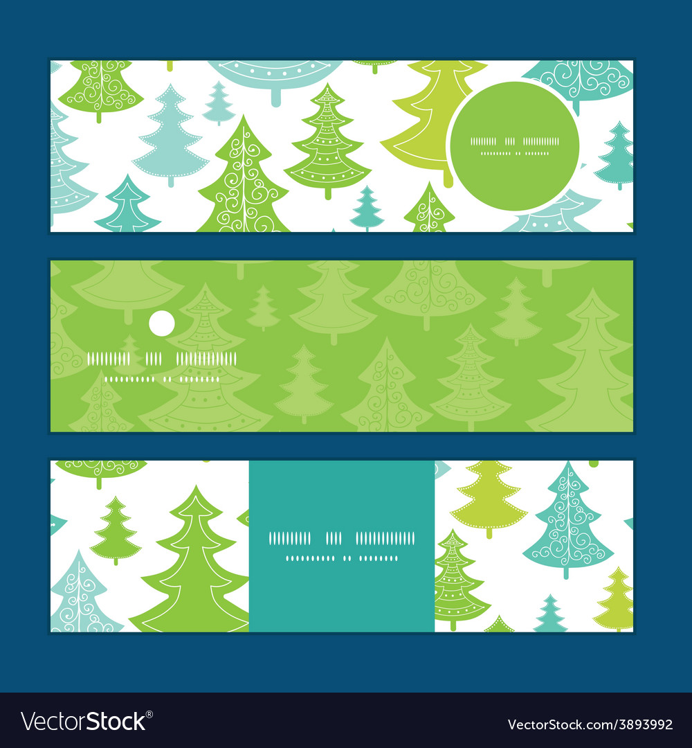 Holiday christmas trees horizontal banners vector | Price: 1 Credit (USD $1)