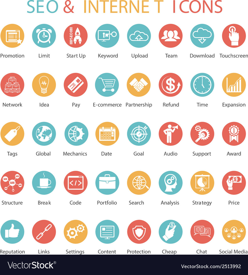 Large set of seo and internet icons vector | Price: 1 Credit (USD $1)