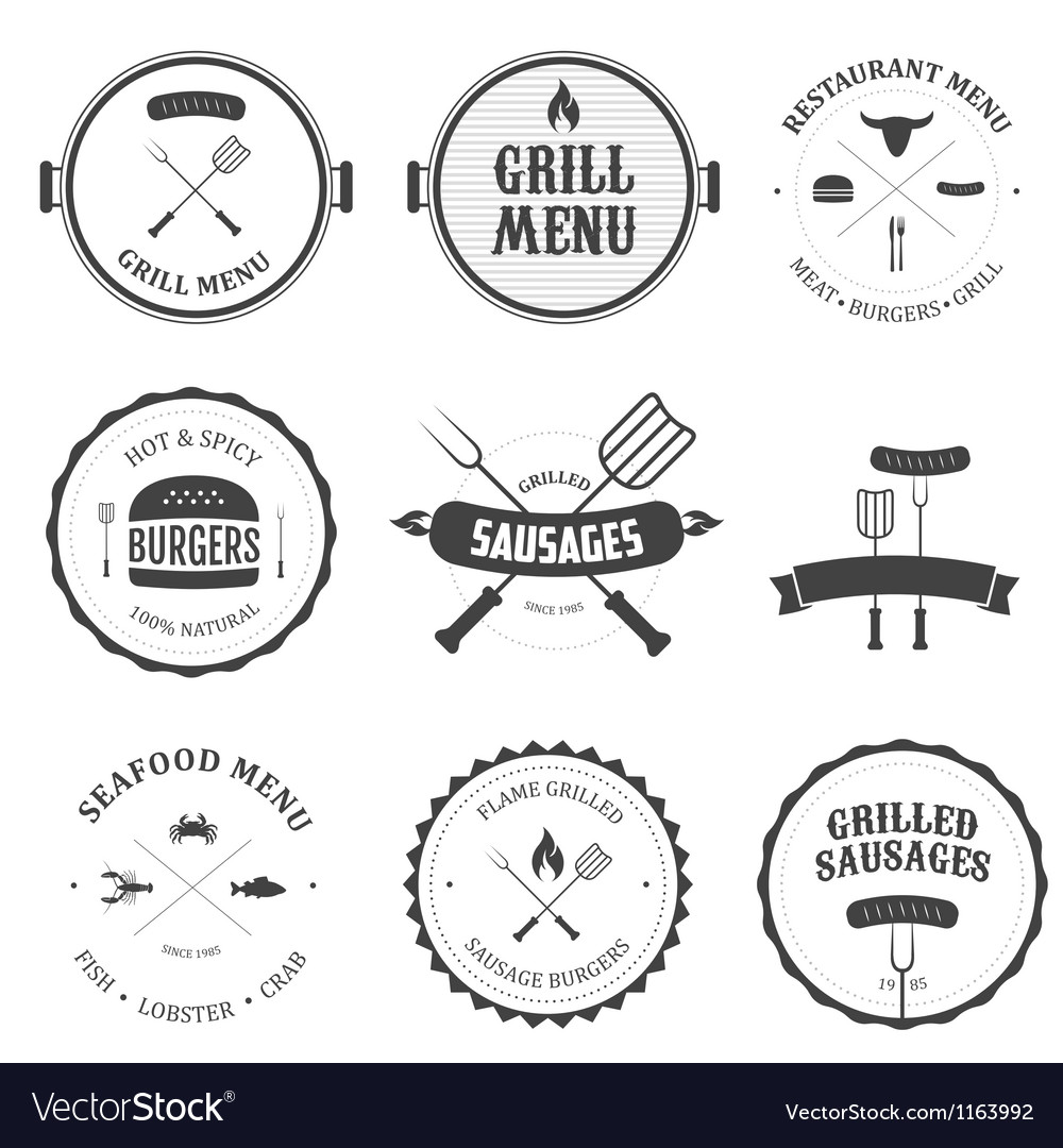 Restaurant menu vintage design elements set vector | Price: 1 Credit (USD $1)