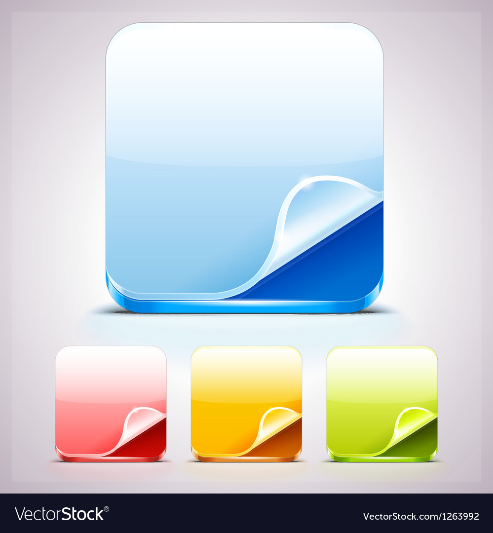 Set of four app icons backgrounds with curl corner vector | Price: 1 Credit (USD $1)