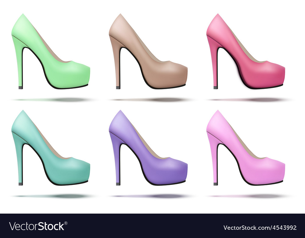Soft vintage high heels pump woman shoes vector | Price: 1 Credit (USD $1)