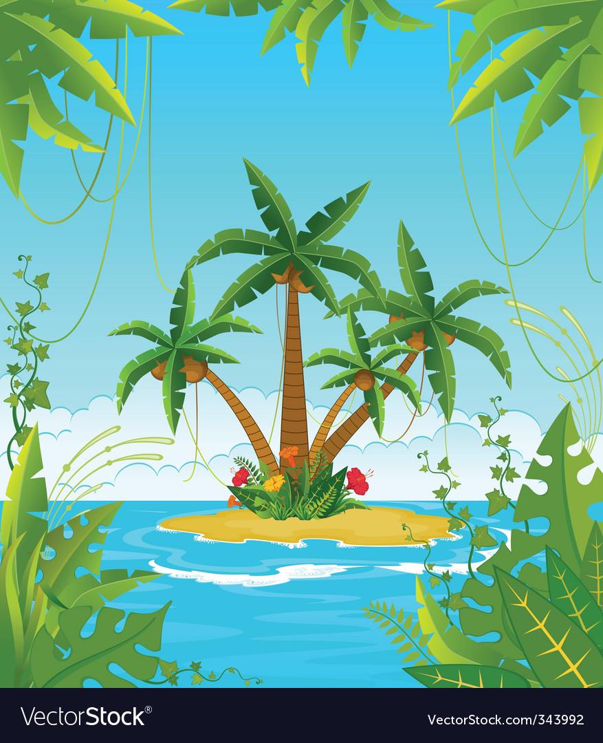 Tropical island vector | Price: 1 Credit (USD $1)