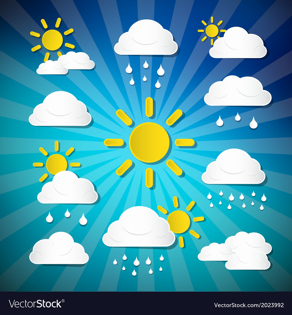 Weather icons - clouds sun rain on retro blue vector | Price: 1 Credit (USD $1)