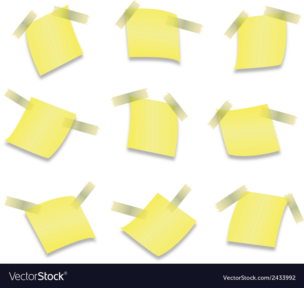 Yellow stick note isolated on white background vector | Price: 1 Credit (USD $1)