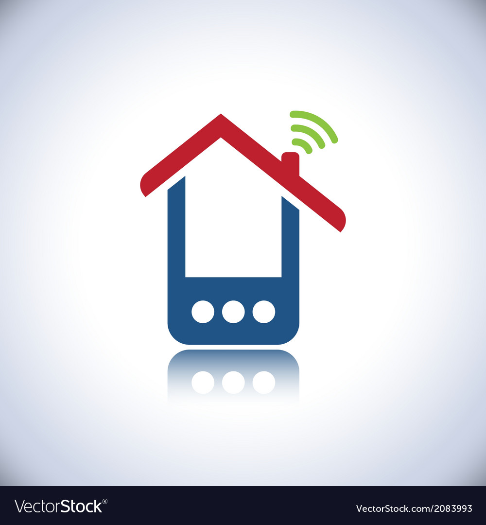 Blue phone house vector | Price: 1 Credit (USD $1)