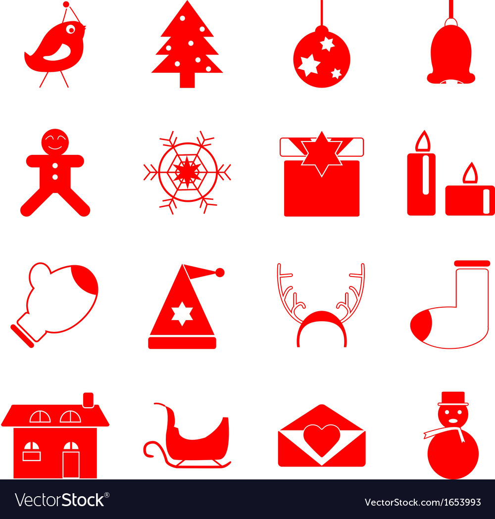 Christmas red icons on white background vector | Price: 1 Credit (USD $1)