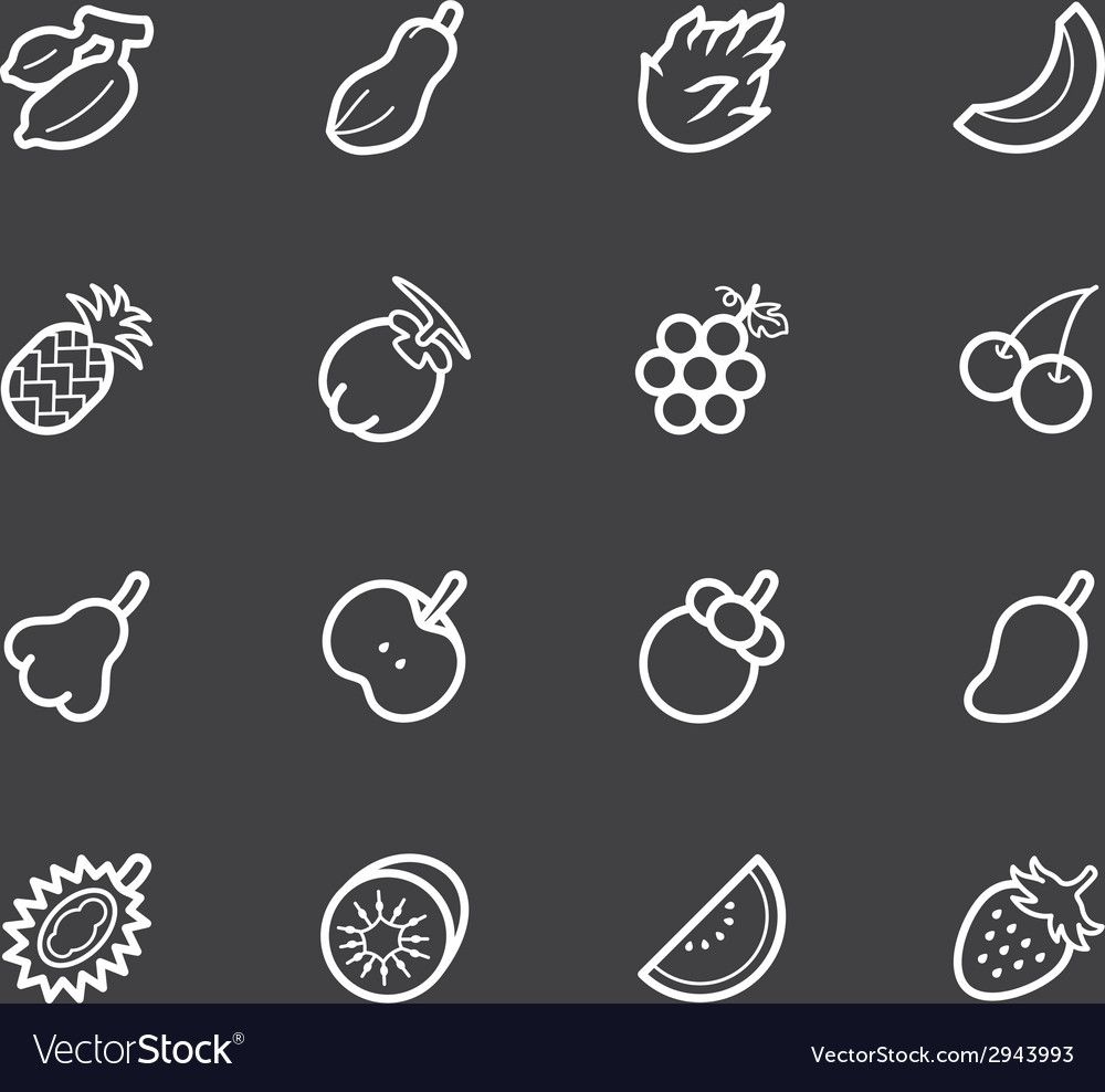 Fruit white icon set on black background vector | Price: 1 Credit (USD $1)