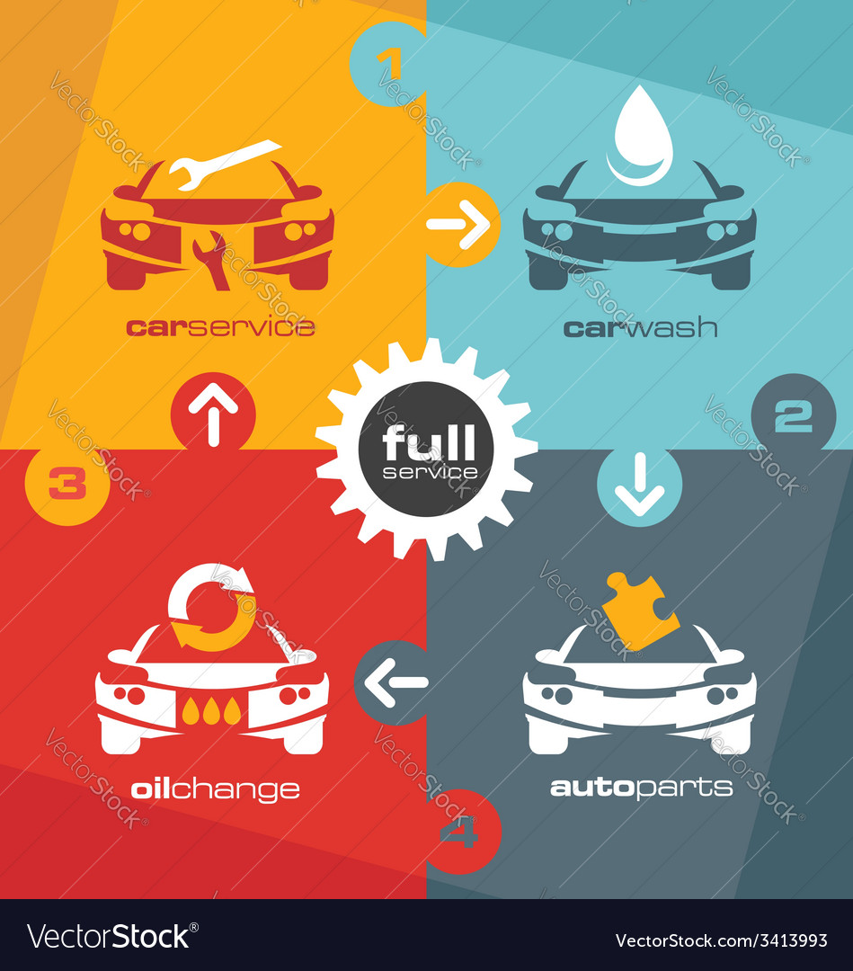 Full car service info graphic vector | Price: 1 Credit (USD $1)