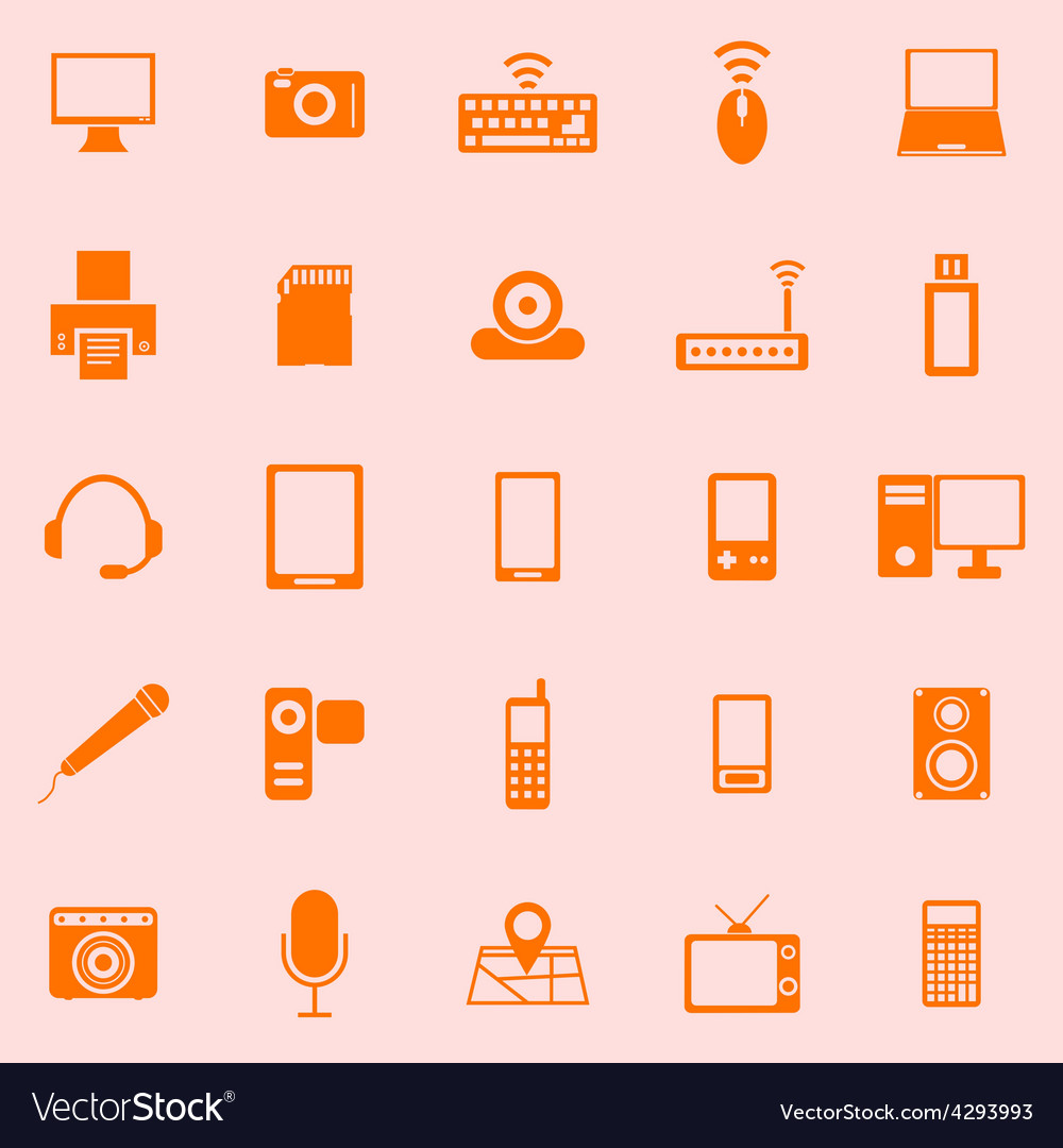 Gadget color icons on orange background vector | Price: 1 Credit (USD $1)
