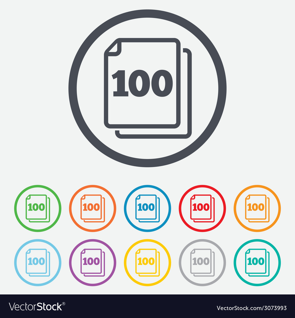 In pack 100 sheets sign icon 100 papers symbol vector | Price: 1 Credit (USD $1)