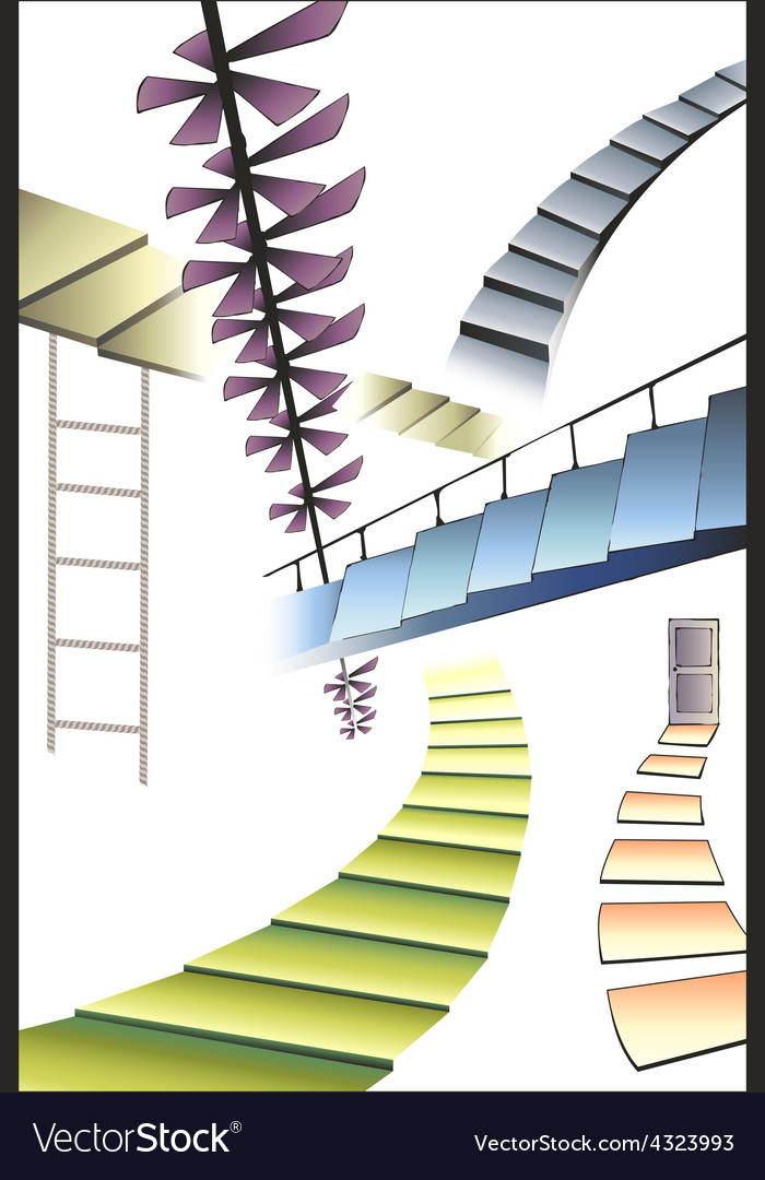 Many different multicolored stairs right way vector | Price: 1 Credit (USD $1)