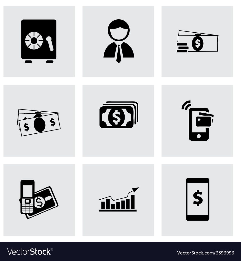 Mobile banking icons set vector | Price: 1 Credit (USD $1)