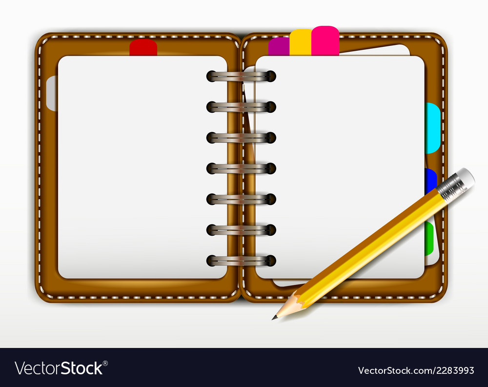 Notepad and pencil for you design vector | Price: 1 Credit (USD $1)