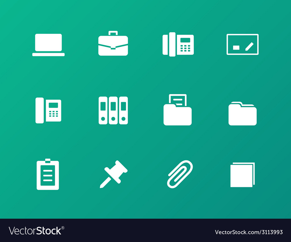 Office icons on green background vector | Price: 1 Credit (USD $1)