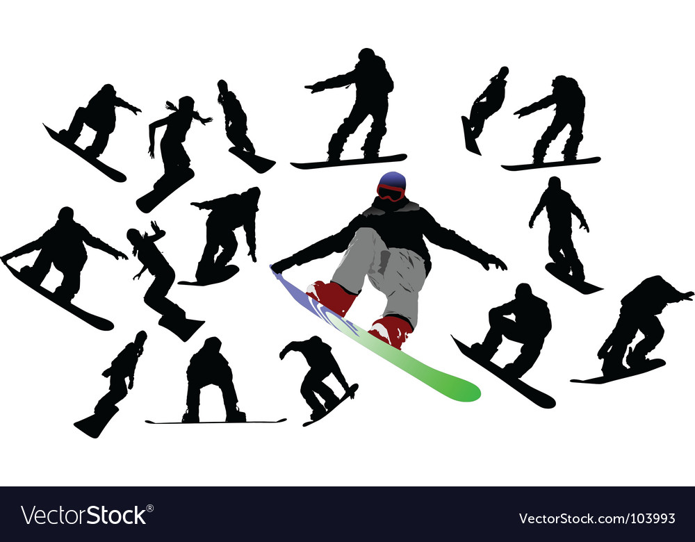 Snowboard silhouettes vector | Price: 1 Credit (USD $1)