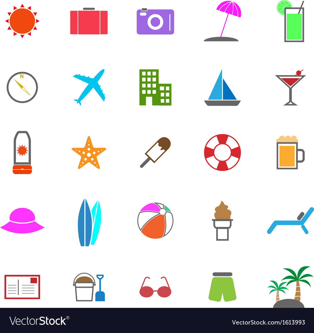 Summer color icons on white background vector | Price: 1 Credit (USD $1)